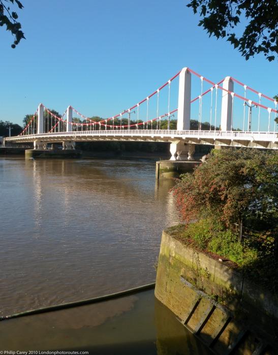 Chelsea Bridge from Grosvenor Road - Looking west