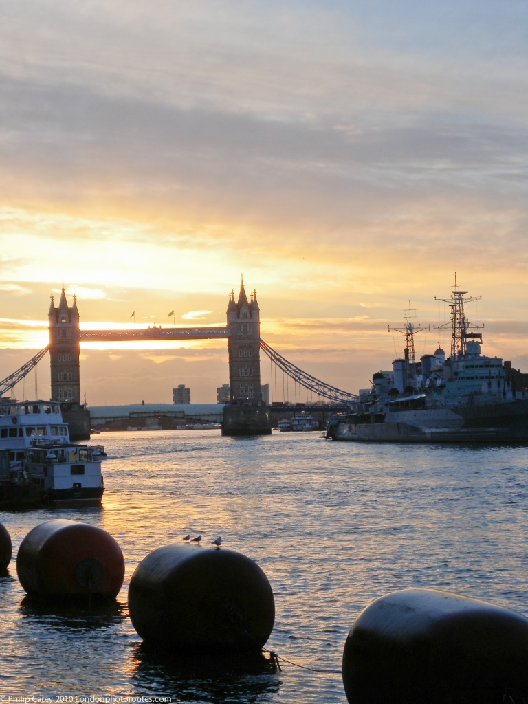 View toward Tower bridge from Grants Key Wharf - London Bridge