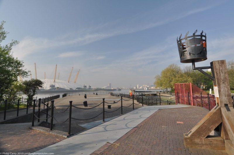 London Runs and Photo Routes - East India Dock Basin - towards O2 dome