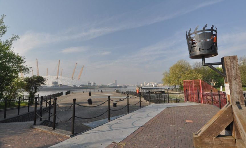 London Runs and Photo Routes - East India Dock Basin - towards O2 dome