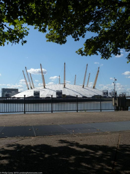 London Runs and Photo Routes - The O2 Dome from near Blackwell Pier - East India Dock