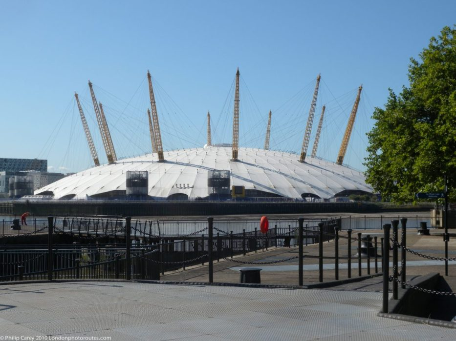London Runs and Photo Routes - The O2 Dome from near Orchard Wharf - East India Dock