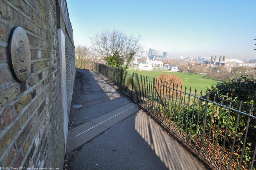 London Runs and Photo Routes - Greenwich Meridian Line as it exist the Royal Observatory