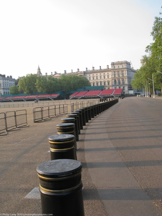 Bollards leading to Downing Street in Horse Guards Parade