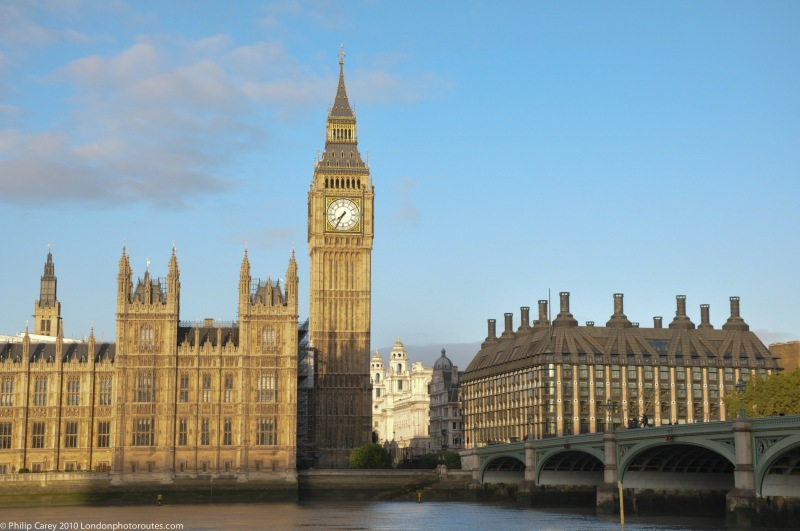 Big Ben and Portcullis House from the side of Westminster Bridge