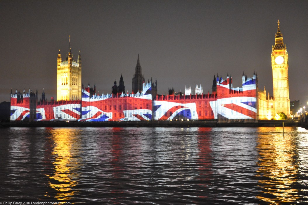 Houses of Parliament with Union Jack projected onto it - During 2012 Olympics