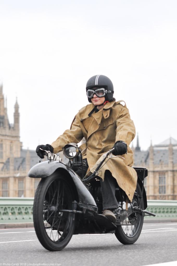 Motorbike on Westmister Bridge - London to Brighton Veteran Car Rally
