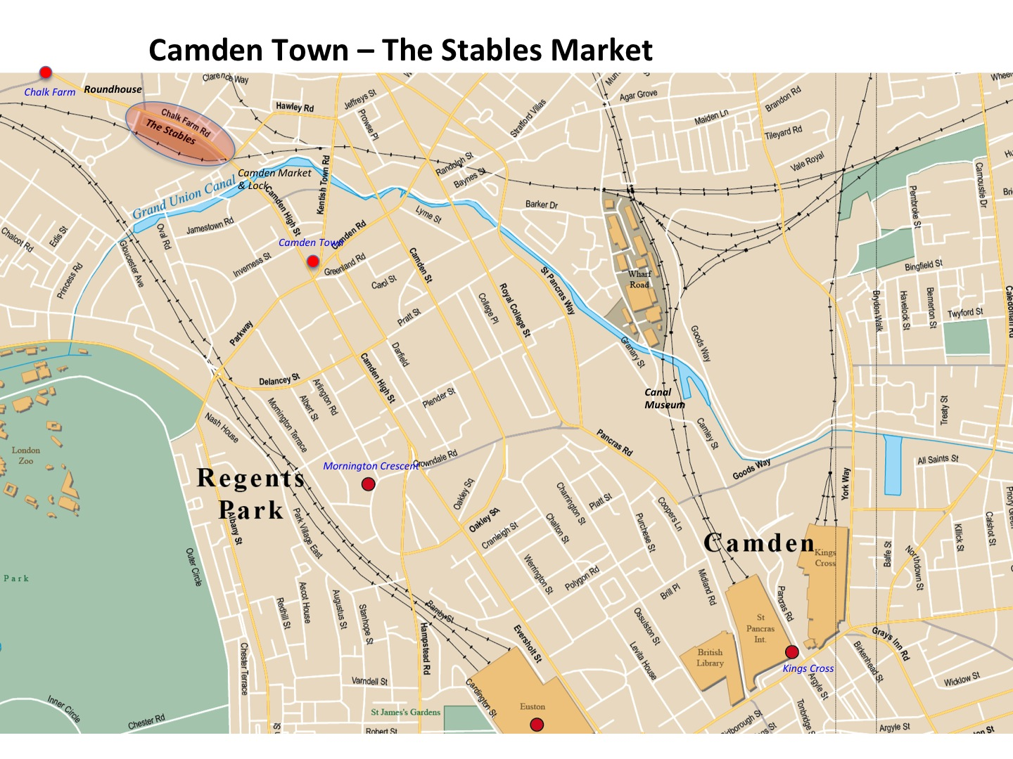Map Camden Town The Stables Market London Photo Areas And Routes