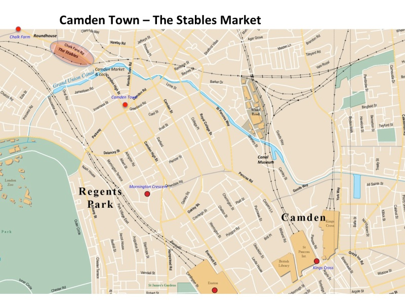 Map Camden Town - the Stables Market