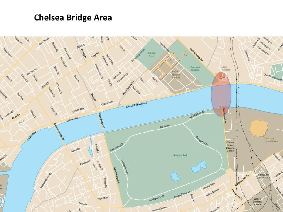 Map Chelsea Bridge area