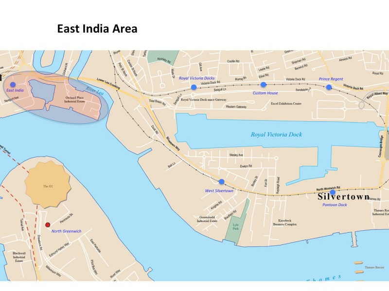 London Runs and Photo Routes - Map East India Area