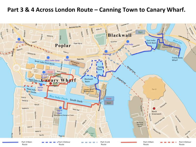 Map Part 4 across London route - South Dock to Westferry