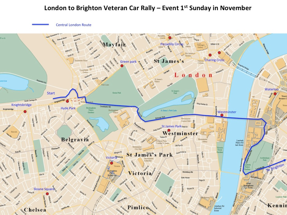 Maps London to Brighton Veteran Car Rally - Central London Section