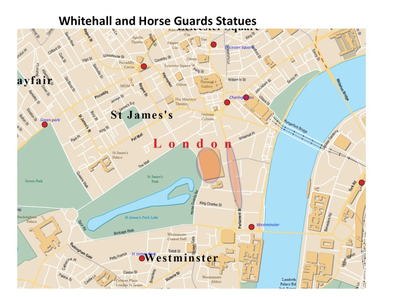 Maps Whitehall and Horse guard statues