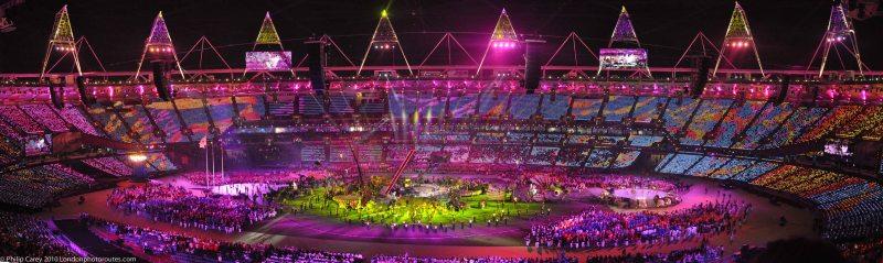 Stadium during Rihanna and Coldplay set