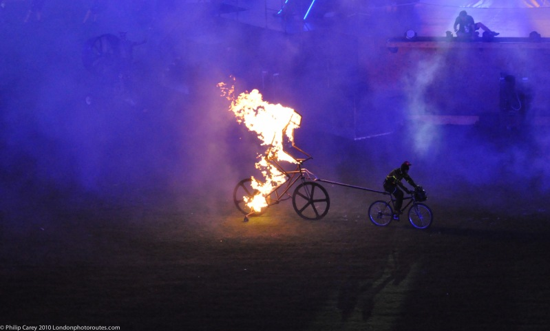Flaming cyclist - part of Truck Invasion scene