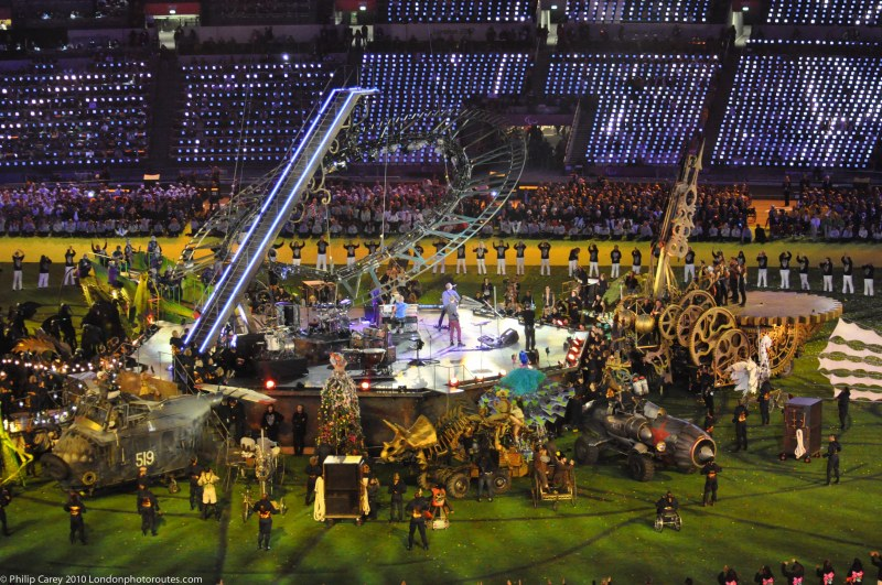 Stage is set for Coldplay and 'Festival of the Flame' concert.