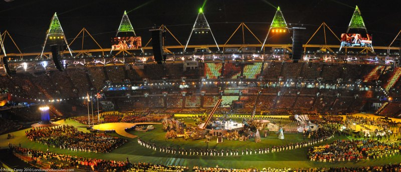 Stadium during 'Festival of the Flame' concert.