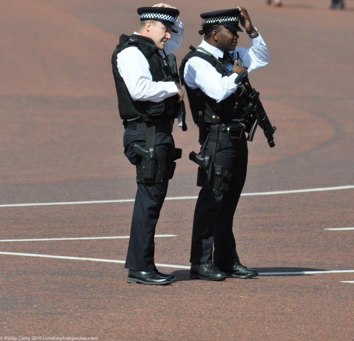 Armed Police outside Buckingham Palace