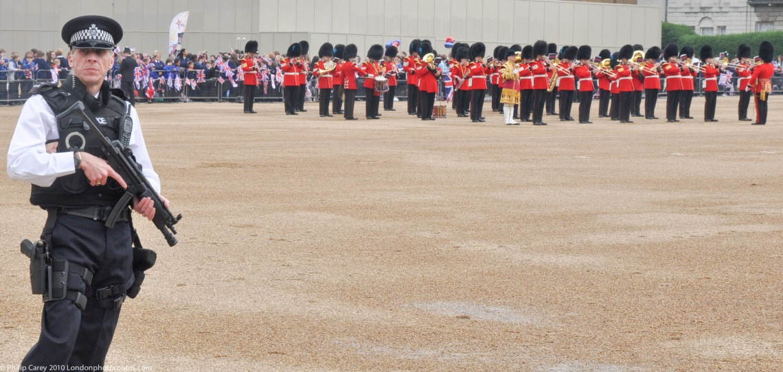 Armed presence in Horse Guards Parade.