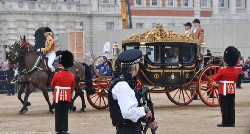 Armed Police Guard and Royal Coach - Royal Wedding 2011