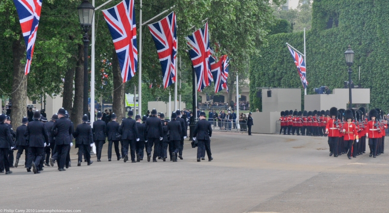 Police and Guards departing after the Royal wedding