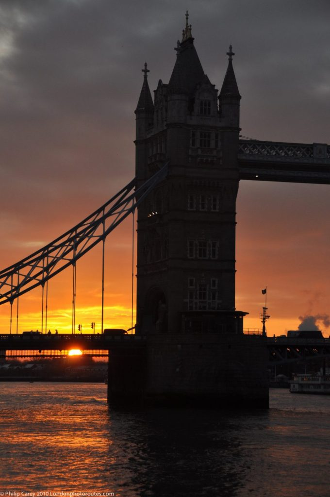 London Runs and Photo Routes -Part of Tower Bridge - Sunrise on a cloudy day.