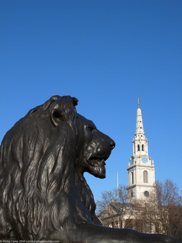 Trafalgar Square Lion and St Martins in Field Church