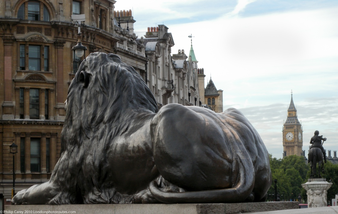Trafalgar Square - Lions looking towards Big Ben