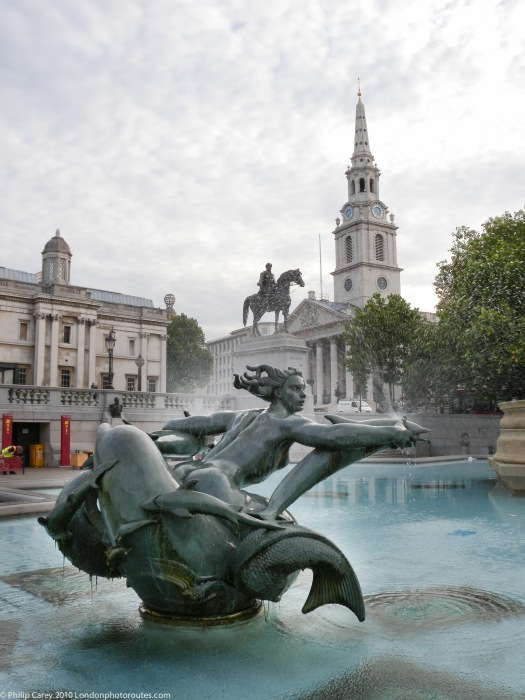Trafalgar Square mermaid and St martins in the Field