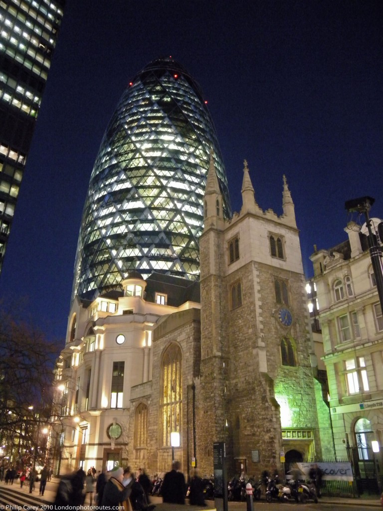 Night View of Gherkin 30 St Mary's Axe and St Andrew Undershaft