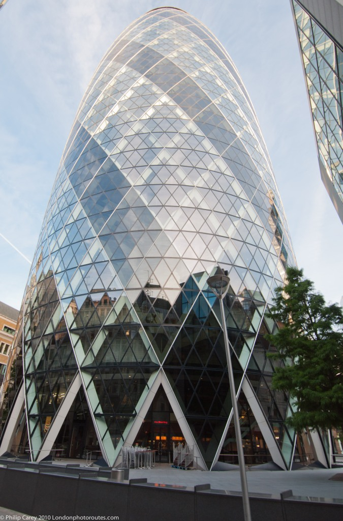 View of the Gherkin 30 St Mary' Axe from the base