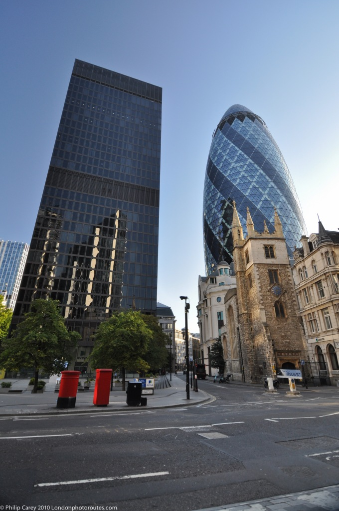 Day View of Gherkin 30 St Mary's Axe and St Andrew Undershaft