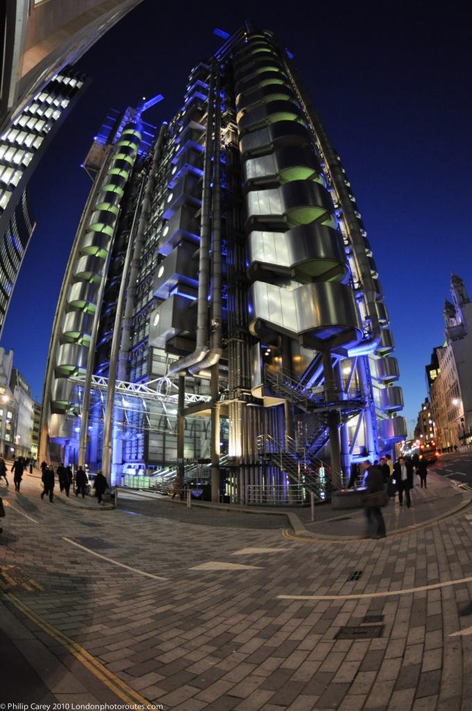 Lloyds of London at night
