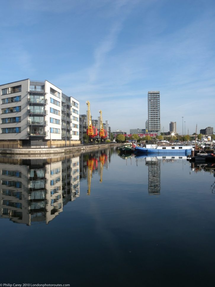 London Runs and Photo Routes - poplar dock View - with old Cranes