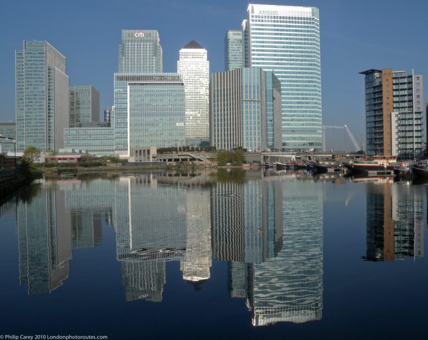 London Runs and Photo Routes -View to Canary Wharf across Blackwell Basin