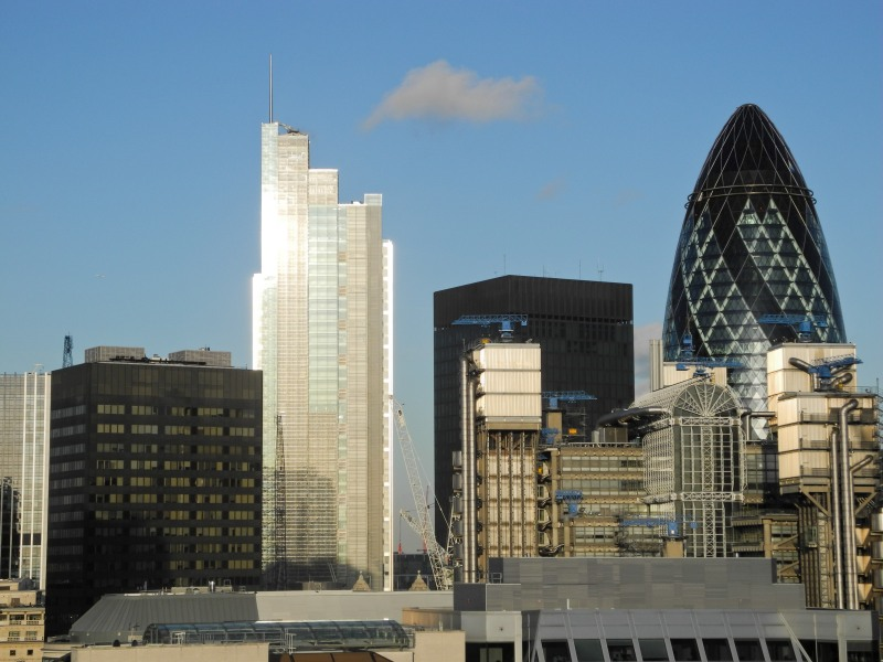 View of the Gherkin 30 St Mary's Axe within the City of London from the Monument