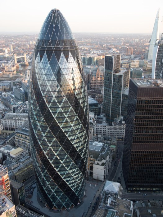 View of the Gherkin 30 St Mary's Axe within the City of London from the Heron Tower