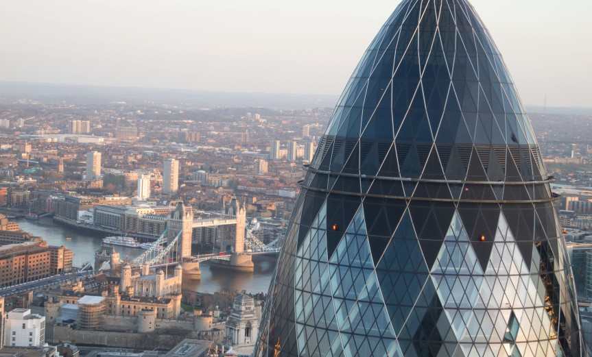 View of the Gherkin 30 St Mary's Axe within the City of London from Tower 42