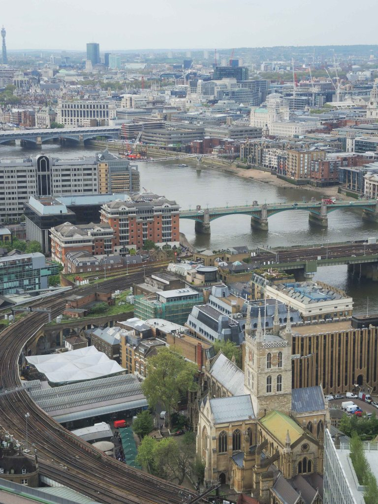 Southwark cathedral location today from the Shard