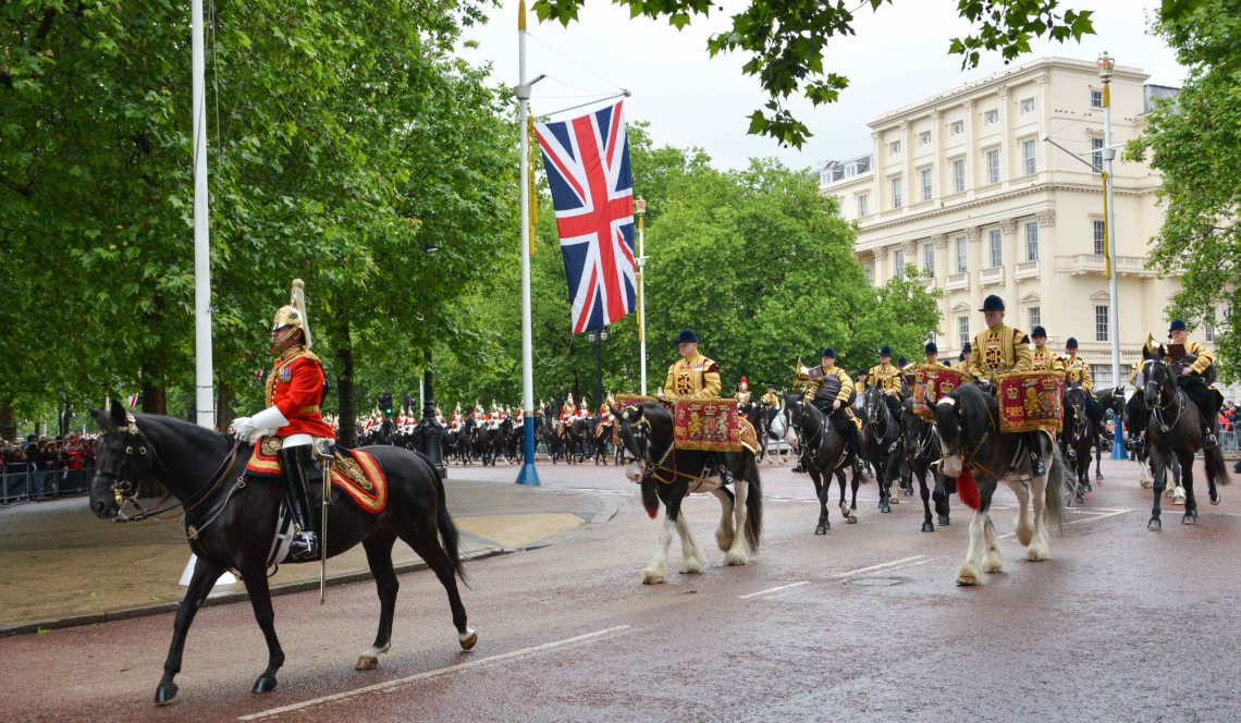 Horse Guards Band Arrives along the Mall - London