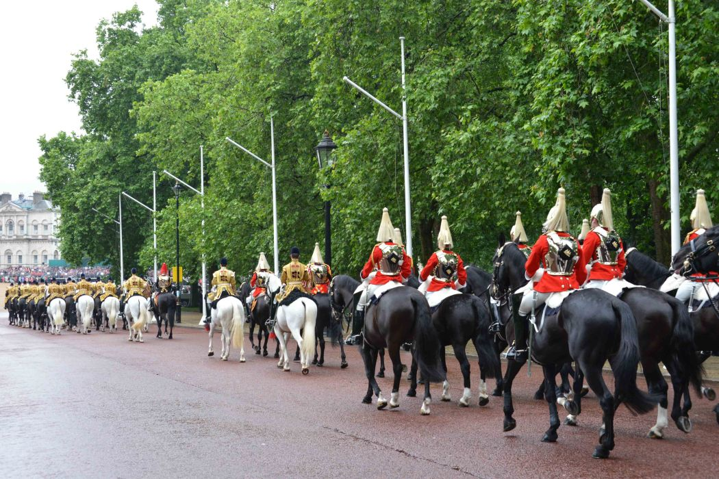 Household Calvary Standard Parade - Life Guards division going into Horse Guards