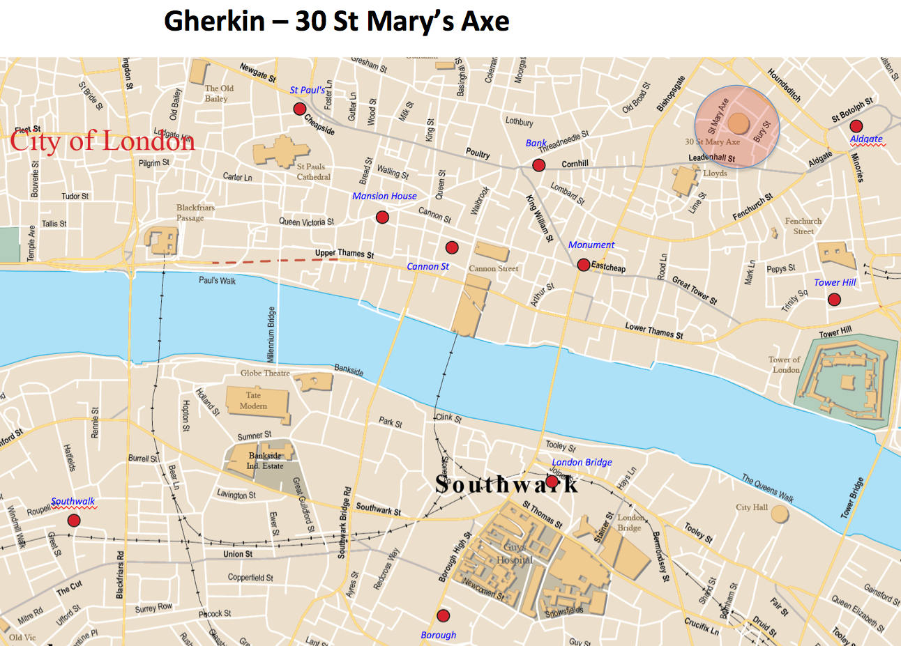 Gherkin 30 St Mary Axe map London Photo Areas and Routes