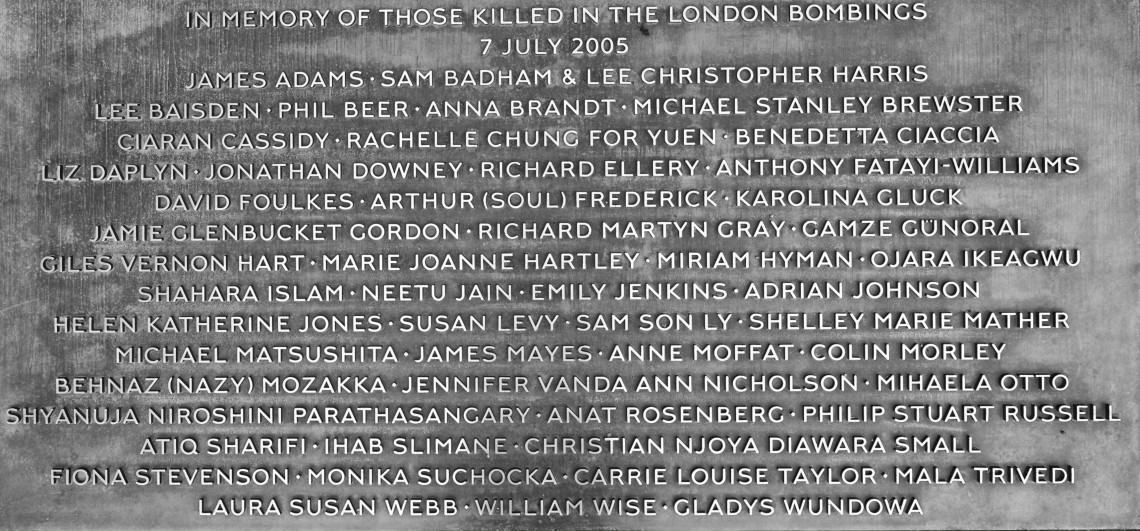 7/7 London Bombing Memorial -Hyde Victims who died
