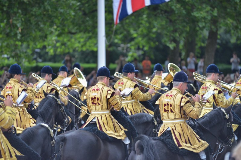 The Household Cavalry Mounted Regiment Band attends Trooping The Colour