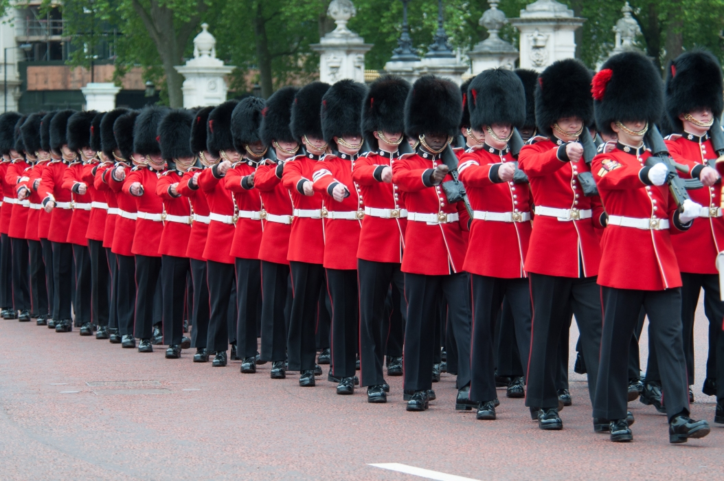 Guards Marching outside Buckingham Palace