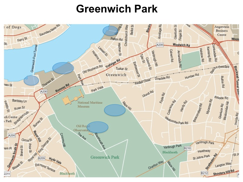 London Runs and Photo Routes - Map of Greenwich and Viewpoints