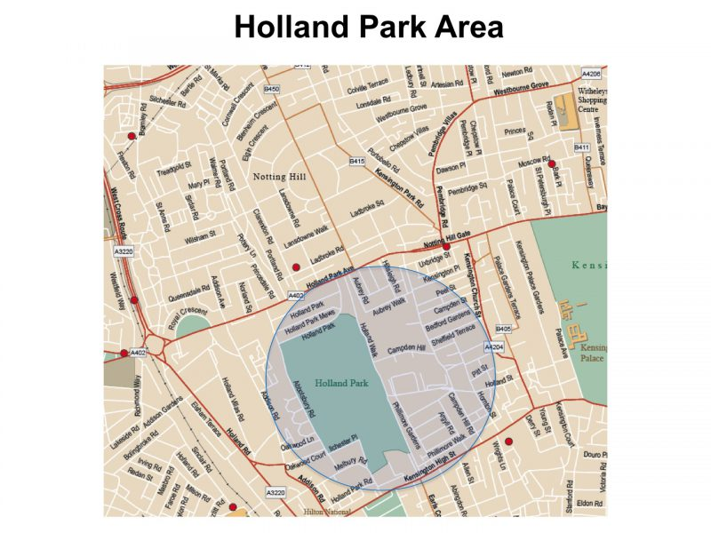 Holland Park Map Holland Park map | London Photo Areas and Routes