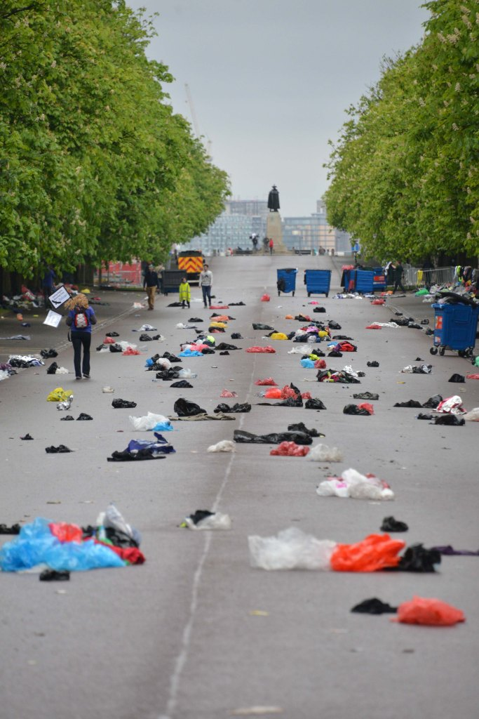 Start line Greenwich Entrance dumped clothes